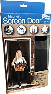 Fenestrelle Magnetic Screen Door with Super Tight Full Strip Magnetic Seal. Heavy Duty, Flame Resistant, Fiberglass Mesh. Full Frame Mounting Tape, Fits up to 36 W x 82 H Doors, Black Trim