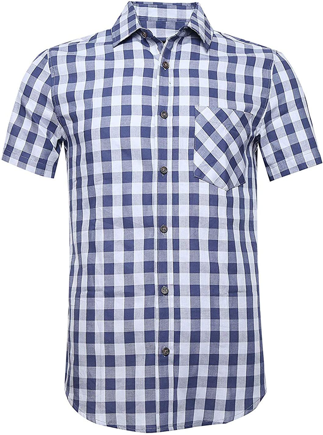 Men Plaid Cotton Max 72% OFF Casual Short Sleeve Dress Be Button Down Super sale period limited Shirts