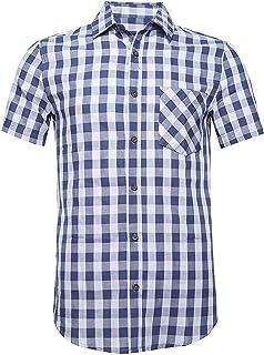 قمصان رجالي كاجوال كاجوال قصير الأكمام بأزرار للأسفل من القطن منقوشة باللون البيج