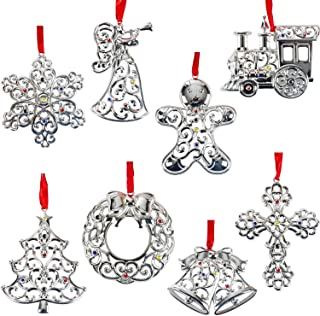 Lenox Sparkle and Scroll Ornaments [Silver-Plated] (8 Multi Color Gems)