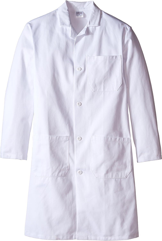 4a5057c337a Worklon 420-36 100% Sanforized Cotton Heavyweight Twill Men's Knee Knee Knee  Length Lab Coat, Button Front, White, 41 Length, Size 36 c7c37e