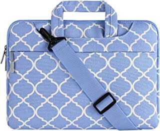 MOSISO Laptop Shoulder Bag Compatible with 13-13.3 Inch MacBook Pro, MacBook Air, Notebook, Canvas Geometric Pattern Protective Carrying Handbag Briefcase Sleeve Case Cover,Serenity Blue Quatrefoil