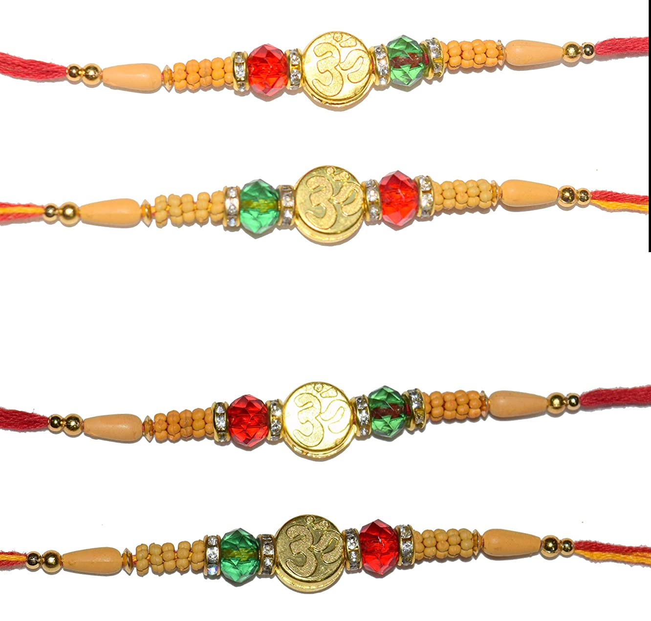 Rakhi Thread, Best for Your borhter/sibbling Multi Color, with Classic Work (Set of 4)