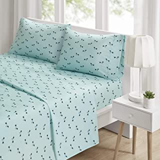"Intelligent Design Microfiber Wrinkle Resistant, Soft Sheets with 12"" Pocket Modern, All Season, Cozy Bedding-Set, Matching Pillow Case, Queen, Novelty Aqua Dogs 4 Piece"