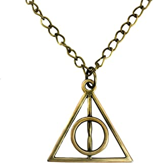 Adeley Mens Womens Harry Potter Deathly Hallows Inspired Brass Charm 18