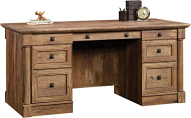Sauder Palladia Executive Desk, Vintage Oak finish