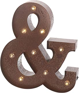"""Barnyard Designs Metal Marquee Letter & Light Up Wall Initial Wedding, Home and Bar Decoration 12"""" (Rust)"""