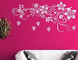 Style Vine with Flower Wall Sticker and Wallpaper and Wall Covering Area Size ( 62 x 103 ) cm White