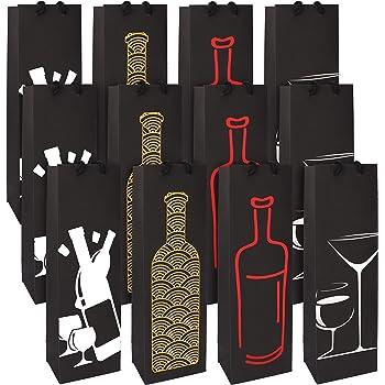 Bolsa Botella (Pack de 12) - Bolsas Botellas con Asas de Cuerda para Vino y Champan - Bolsas