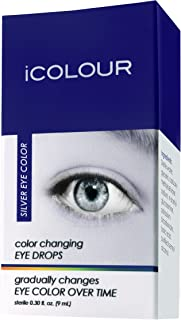 iCOLOUR Color Changing Eye Drops - Change Your Eye Color Naturally - 1 Month Supply - 9 mL (Silver)