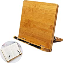Bamboo Book Holder Aggice Adjustable Book Holder with Tray and Page Paper Clips Protable Bookstand Hands Free Book Stand (...