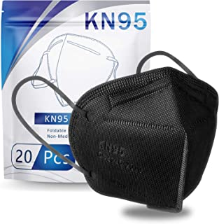 KN95 Face Mask 20 PCS, Filter Efficiency≥95%, 5 Layers Cup Dust Mask Against PM2.5 from Fire Smoke, Dust, for Men, Women, Essential Workers(Black)