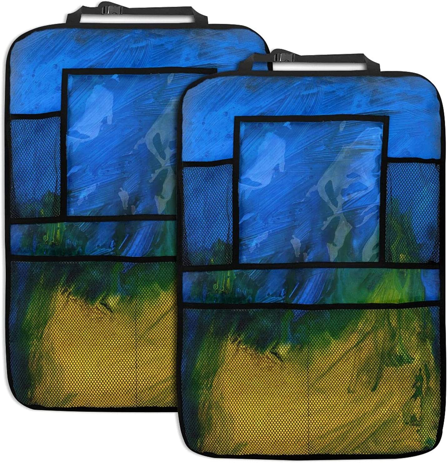 Blue And Memphis Mall Yellow Abstract Art 2pc Weekly update Organizer Car Backseat Bac Seat