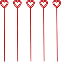 Royer Plastic Heart Valentine's Day Floral Picks, Card Holders - Transparent Red, 12 Inch, Set of 100, Made In USA