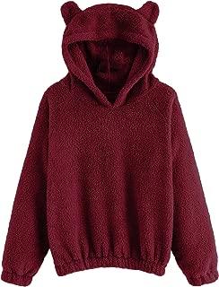 Romwe Women's Long Sleeve Pullovers Hoodie Cute Teddy Ear Hooded Sweatshirt