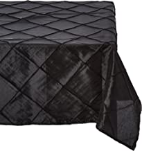 LinenTablecloth Square Pintuck Overlay Black