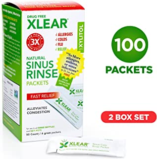 Xlear Natural Neti Pot Sinus Rinse Refill Packets, Sinus Relief Saline Nasal Rinse with Xylitol (100 Packets)