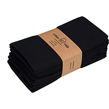 Urban Villa Solid Slub Black Color Dinner Napkins Everyday Use Premium Quality 100% Cotton Set of 12 Size 20X20 Inch Over sized Cloth Napkins with Mitered Corners Ultra Soft Durable Hotel Quality