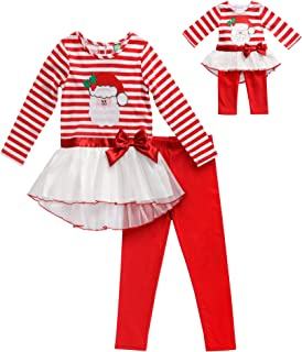 Girls' Apparel Holiday Legging Set with Doll Outfit