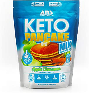 ANS Performance KETO Pancake & Waffle Mix (16 Servings, 16 oz) - Low Carb, Gluten-Free, Grain-Free, Paleo, Low Glycemic | Made with Natural Almond Flour, Easy to Make 7g of Protein (Apple Cinnamon)