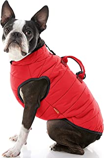 Gooby - Padded Vest Lift, Dog Jacket Coat Sweater with Control Handle, Zipper Closure and Leash Ring, Red, Medium chest (~...