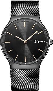 ساعة يد رجالية من ايلانوفا، انالوج بعقارب ، ستانلس ستيل ،أسود ، EL48