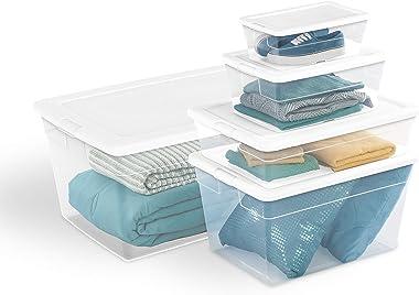 Sterilite 16598008 56 Quart/53 Liter Storage Box, White Lid w/ Clear Base, 8-Pack