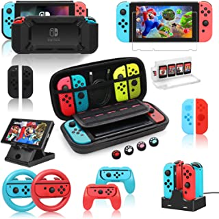 Nintendo Switch Accessories Bundle,Kit with Carrying Case,Protective Case with Screen Protector,Compact Playstand,Game Case,Joystick Cap,Charging Dock,Grip and Steering Wheel (11-in-1)