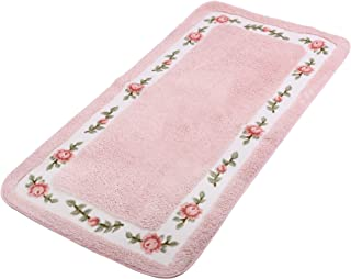 JSJ_CHENG Bath Rugs Mats for Bathroom Bedroom Kitchen Non Slip Microfiber Rose Floral Rectangular, Rustic Home Decor (23.6-inch by 39.4-inch, Pink)