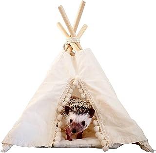 MINICAMP Igelkott teepee med mjuk dyna – litet lekhus för husdjur och säng – ett lyckligt igelkottshus – Tipi-tält från ka...