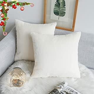 Kevin Textile Christmas Decor Faux Crystal Mink Fur/Suede Throw Pillow Covers Ins Style Super Soft Fluffy Velvet Cushion Cover for Bed/Sofa, 2 Pack, 18 inches, Ivory White