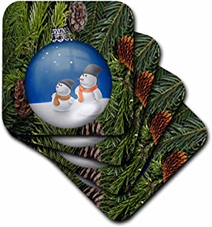 3dRose CST_60325_3 Snowman Ornament on Pine Tree with Cones-Ceramic Tile Coasters, Set of 4