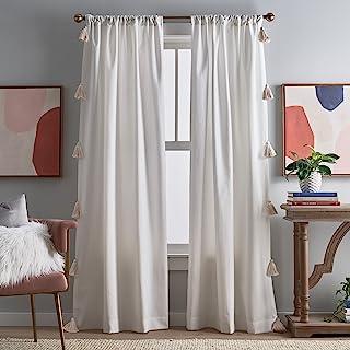 "Peri Home Chunky Tassel Rod Pocket Window Curtain Panel Pair, 84"", White with Linen Tassel"