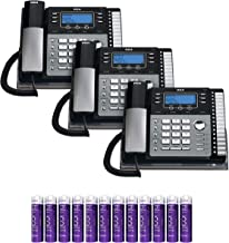 RCA 25424RE1 4-Line Expandable Phone System - Office Desk Telephone with Built-in Caller ID and Intercom (3-Pack) Bundle with 12 Blucoil AAA Batteries