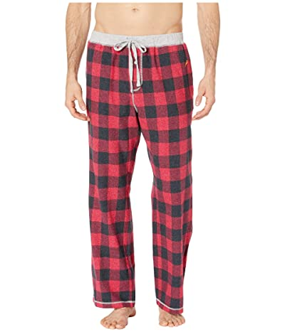 True Grit Melange Buffalo Check Flannel Pajama Pants with Heather Knit Trim (Red) Men
