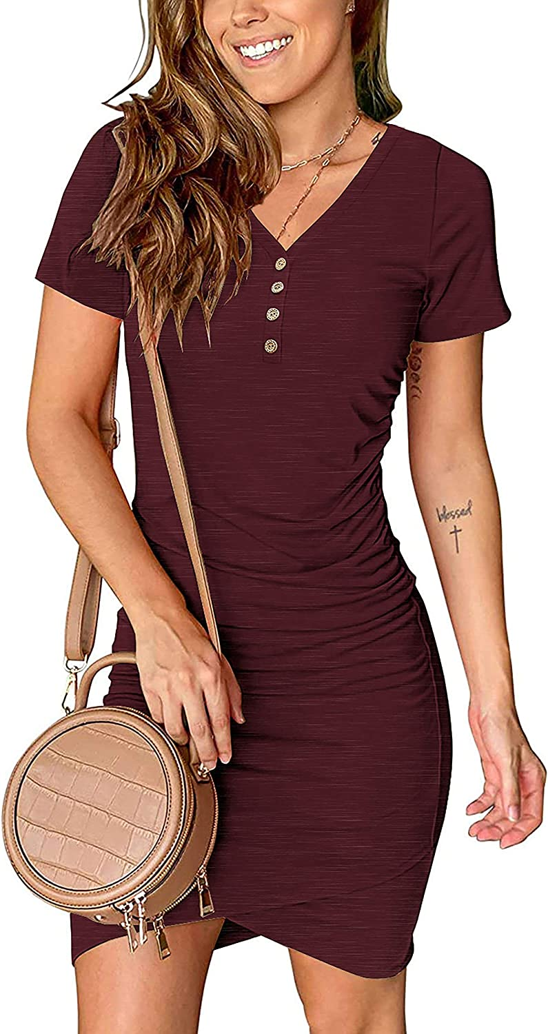 BTFBM Women's 2021 Casual V Neck Short Sleeve Ruched Bodycon T Shirt Short Mini Dresses with Buttons