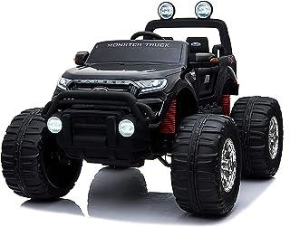 乗用ラジコン フォード レンジャー モンスタートラック(FORD RANGER) 超大型!二人乗り 4WD&大型バッテリー フォードライセンス ペダルとプロポで操作 電動ラジコンカー 乗用玩具 子供が乗れるラジコンカー 電動乗用玩具 本州 [フォード モントラ DK-MT550] (ブラック)