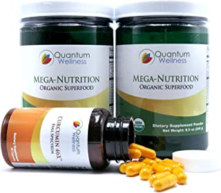 Anti-Oxidant & Inflammation Fighting Power Pack - Mega-Nutrition Organic Superfood Infused with Turmeric and Curcumin 46x with Turmeric Quantum Wellness Supplements