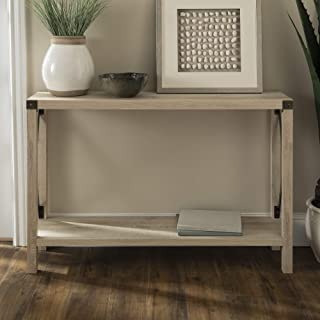 Walker Edison Barnwood Farmhouse Wood Rectangle Accent Entryway Table (46 Inch) – White