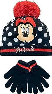 Disney Minnie Mouse Enfants Filles Beanie Bonnet avec pompon rouge foncé taille 54