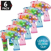 Liberty Imports Pack of 6 – Wind Up Bubble Gun Shooter Light Up LED Blowers with..