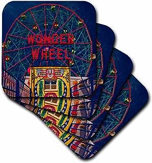 3dRose CST_55991_3 Wonder Wheel Coney Island Ceramic Tile Coaster (Set of 4)