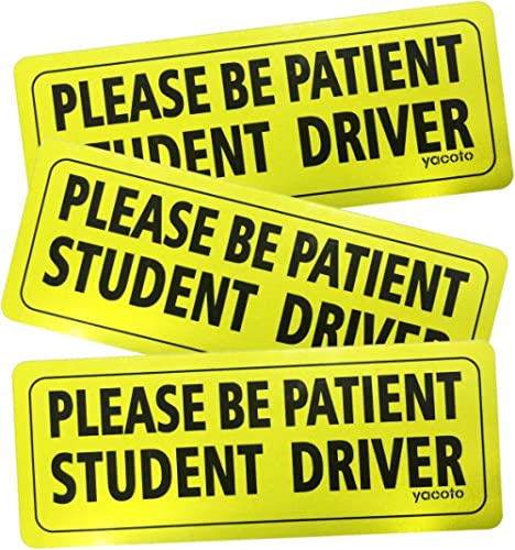 Yacoto 3 Pcs Student Driver Car Magnet Safety Sign Vehicle Bumper Magnet - Reflective Vehicle Car Sign Sticker Bumper...