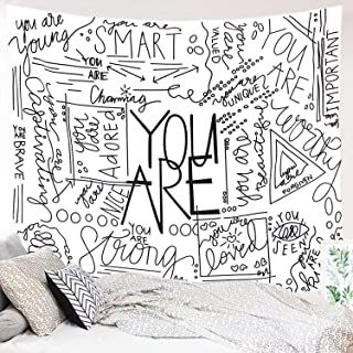 Miytal Quote You Are Wall Tapestry, Letter Wall Art Positive Saying Wall Hanging Large Wall Paper Décor for Dorm Bedroom Living Room 51.2