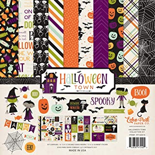 Echo Park - Halloween Town 12x12 Scrapbooking Kit - Item HT13016TM - Features Witches, Vampires, Pumpkins, Candy, Skeletons, Bats, Black Cats, Mummies, Spider Webs, and Ghosts