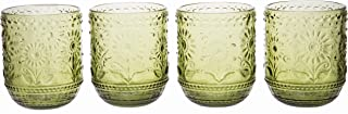 Vintage Botanist Drinking Glass Set, Luxurious Floral Embossed Decorative Green Glassware, Set of 4, 4-inch, 12 oz