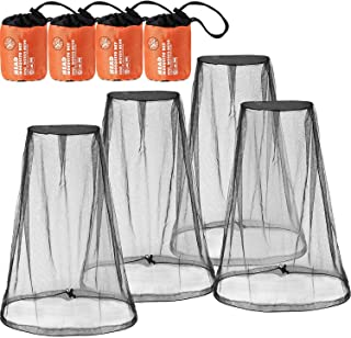 4 Pack Mosquito Head Net Face Mesh Net Head Protecting Net for Outdoor Hiking Camping Climbing Walking Mosquito Fly Insect...