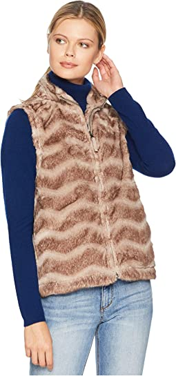 Chevron Vintage Fur Zip Vest