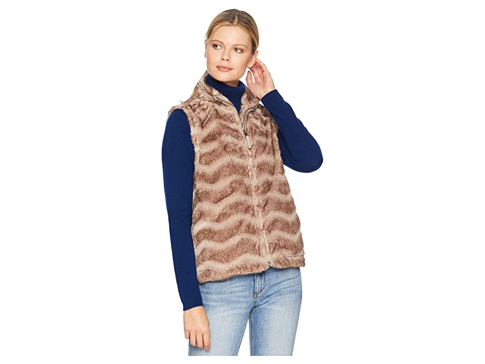 Dylan by True Grit Chevron Vintage Fur Zip Vest (Vintage Brown) Women