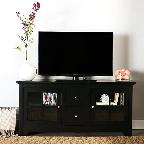 Walker Edison 53 Wood TV Stand Console With Storage Drawers Black